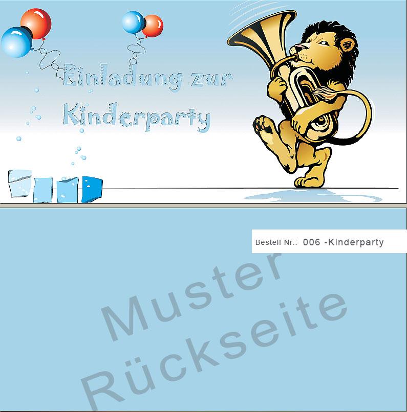 Kinderparty Einladungskarte - 6-kinderparty