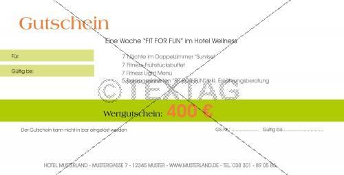 Fit for Fun - Wertgutschein 400 € - Geschenkgutschein (160)