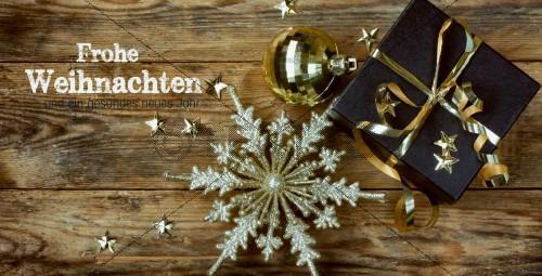 edle Weihnachtskarte in Gold und Schwarz mit Spruch, geschäftlich (39)