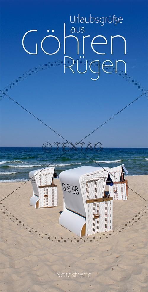Ansichtskarte 3 weiße Strandkörbe am Nordstrand in Göhren auf Rügen inkl. Druck & Lieferung frei Haus in DE