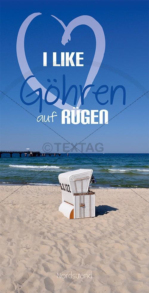 Ansichtskarte 1 weißer Strandkorb am Nordstrand in Göhren auf Rügen inkl. Druck & Lieferung frei Haus in DE