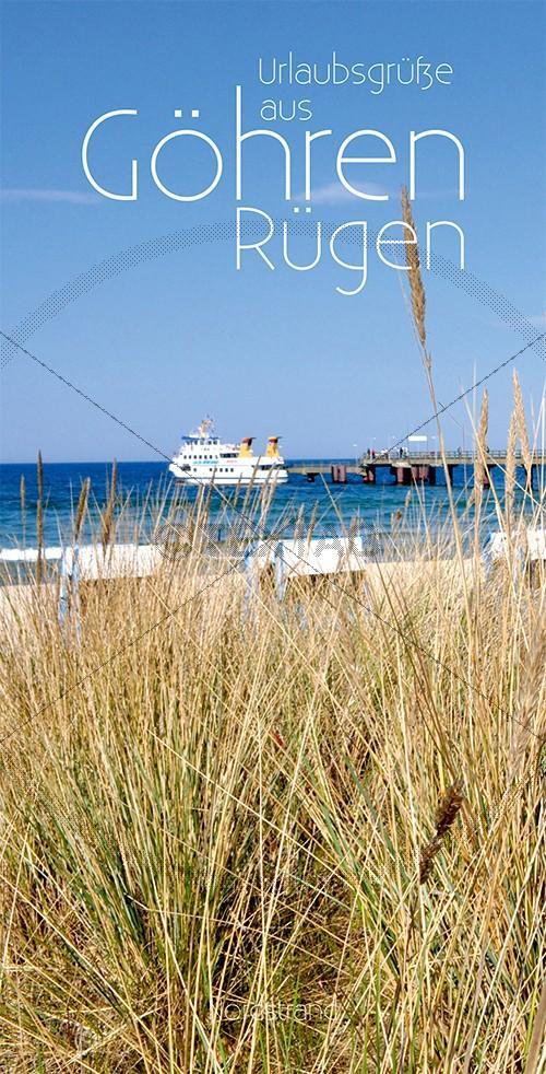 Ansichtskarte Ausflugsschiff an der Seebrücke in Göhren auf Rügen inkl. Druck & Lieferung frei Haus in DE