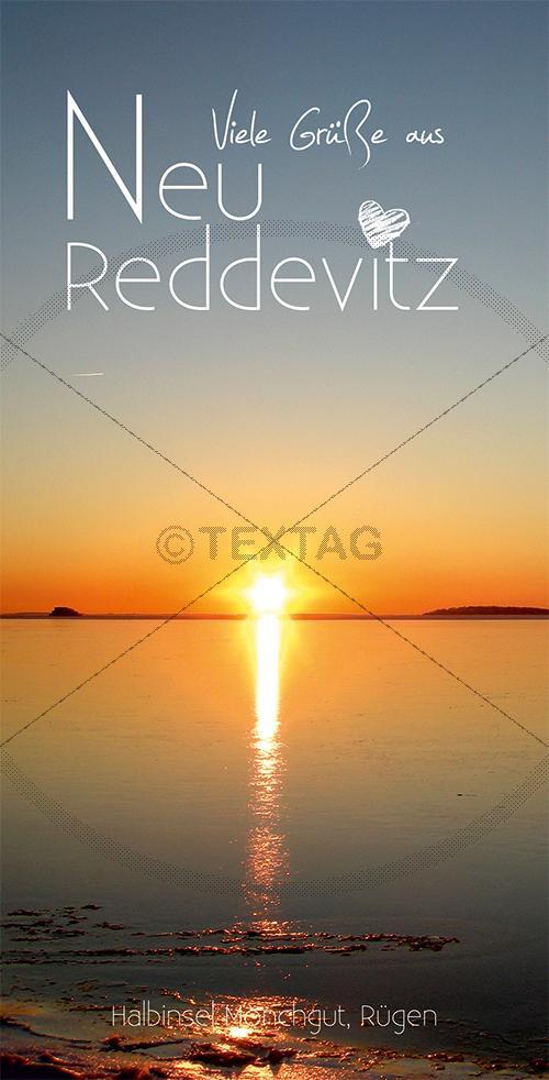 Ansichtskarte Sonnenuntergang in Neu Reddevitz auf Rügen inkl. Druck & Lieferung frei Haus in DE