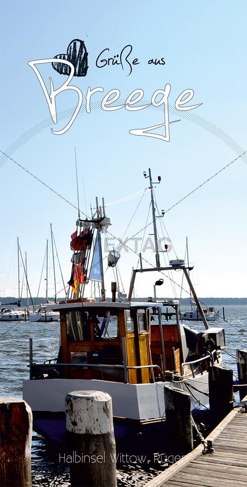 Ansichtskarte Fischerboot im Hafen Breege auf Rügen inkl. Druck & Lieferung frei Haus in DE