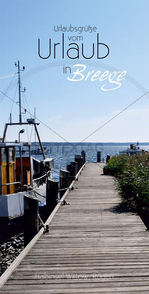 Ansichtskarte Steg, Fischerboot im Hafen Breege auf Rügen inkl. Druck & Lieferung frei Haus in DE