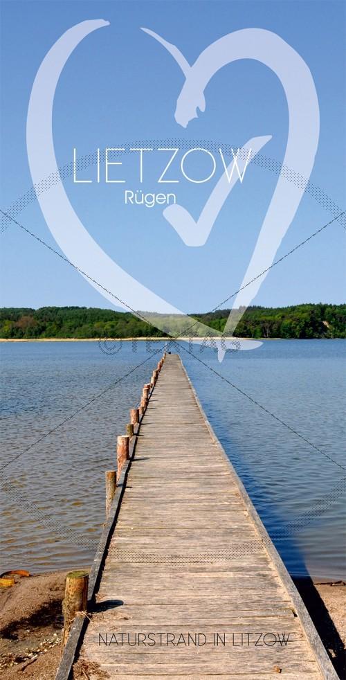 Ansichtskarte Steg am Naturstrand in Lietzow, Großer Jasmunder Bodden auf Rügen (182)