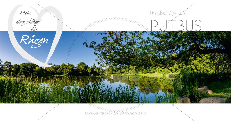 Maxi Card Postkarte - Schwanenteich im Schlosspark Putbus (155)