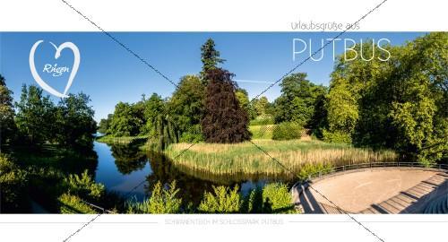 Maxi Card Postkarte - Schwanenteich im Schlosspark Putbus (156)