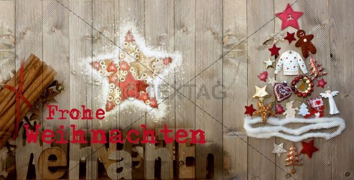 geschäftliche nostalgische Weihnachtskarte mit Spruch, inkl. Druckkosten