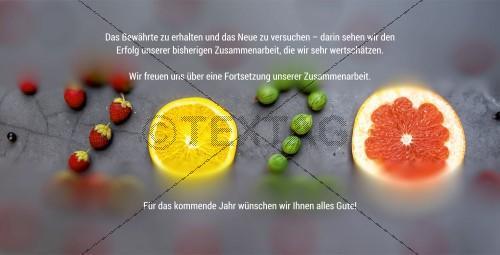 fruchtige, geschäftliche Silvesterkarte inkl. Druckkosten (53), DIN Lang