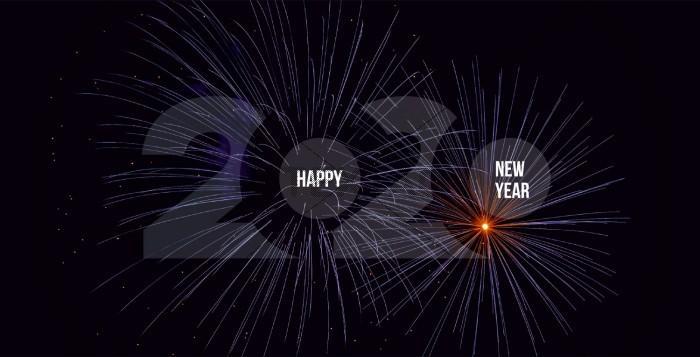 Feuerwerk, geschäftliche Silvesterkarte inkl. Druckkosten, DIN Lang