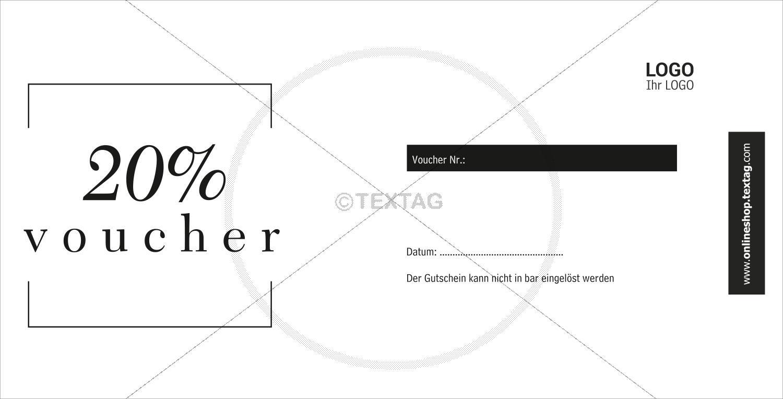 """Voucher """"20%"""" in weiß-schwarz (227-1)"""