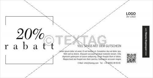 """""""20% Rabatt"""" Gutschein in weiß-schwarz (227-2)"""