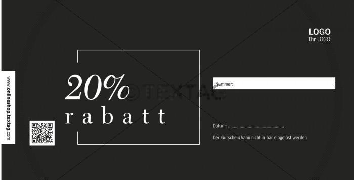 """""""20% Rabattgutschein"""" in schwarz-weiß (227-3)"""