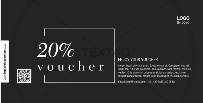 """Voucher """"20%"""" in schwarz-weiß (227)"""