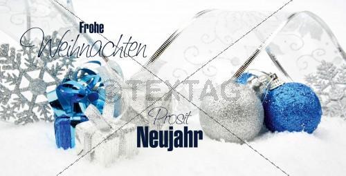 elegante Weihnachtskarte in Weiß, Blau und Silber mit Spruch (64) inkl. Druckkosten