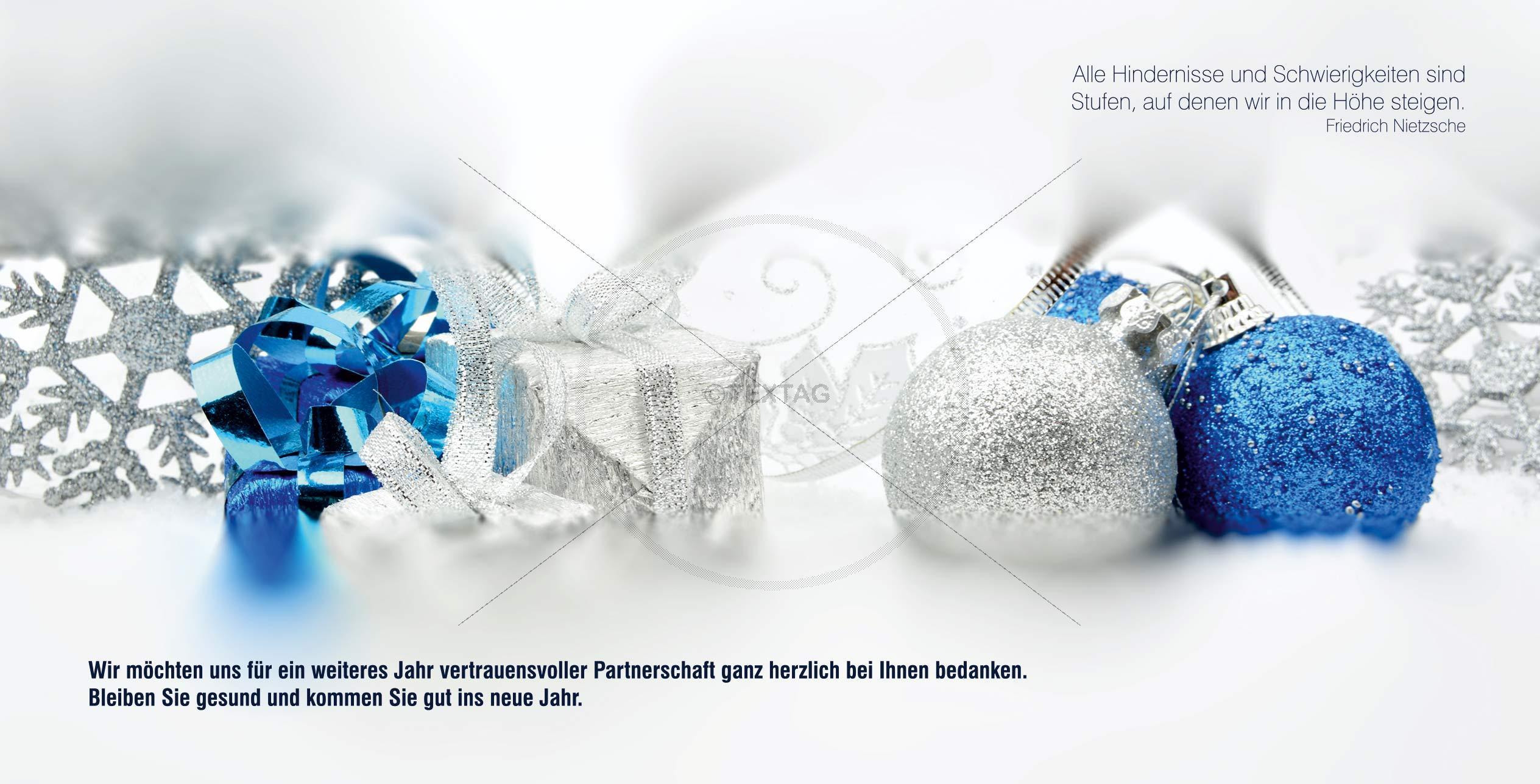elegante Weihnachtskarte in Weiß, Blau und Silber mit Spelegante Weihnachtskarte in Weiß, Blau und Silber mit Spruch (64) inkl. Druckkostenruch (64)