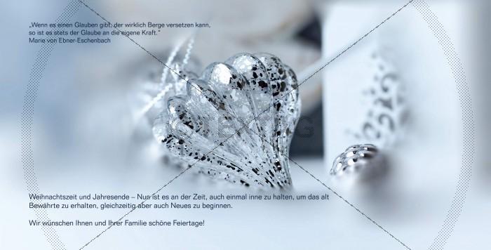 edle Weihnachtskarte in Pastellblau & Silber mit Spruch inkl Druck (65)