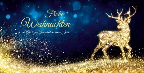 extravagante Weihnachtskarte in Blau & Gold mit Spruch, inkl Druck (66)
