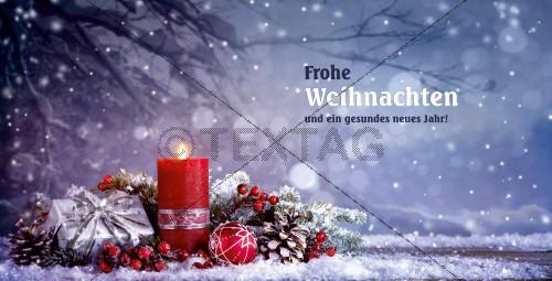 nostalgische Weihnachtskarte in Blau mit Spruch, inkl. Druck (68)